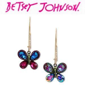 Betsey Johnson Multi-Color Butterfly Earrings